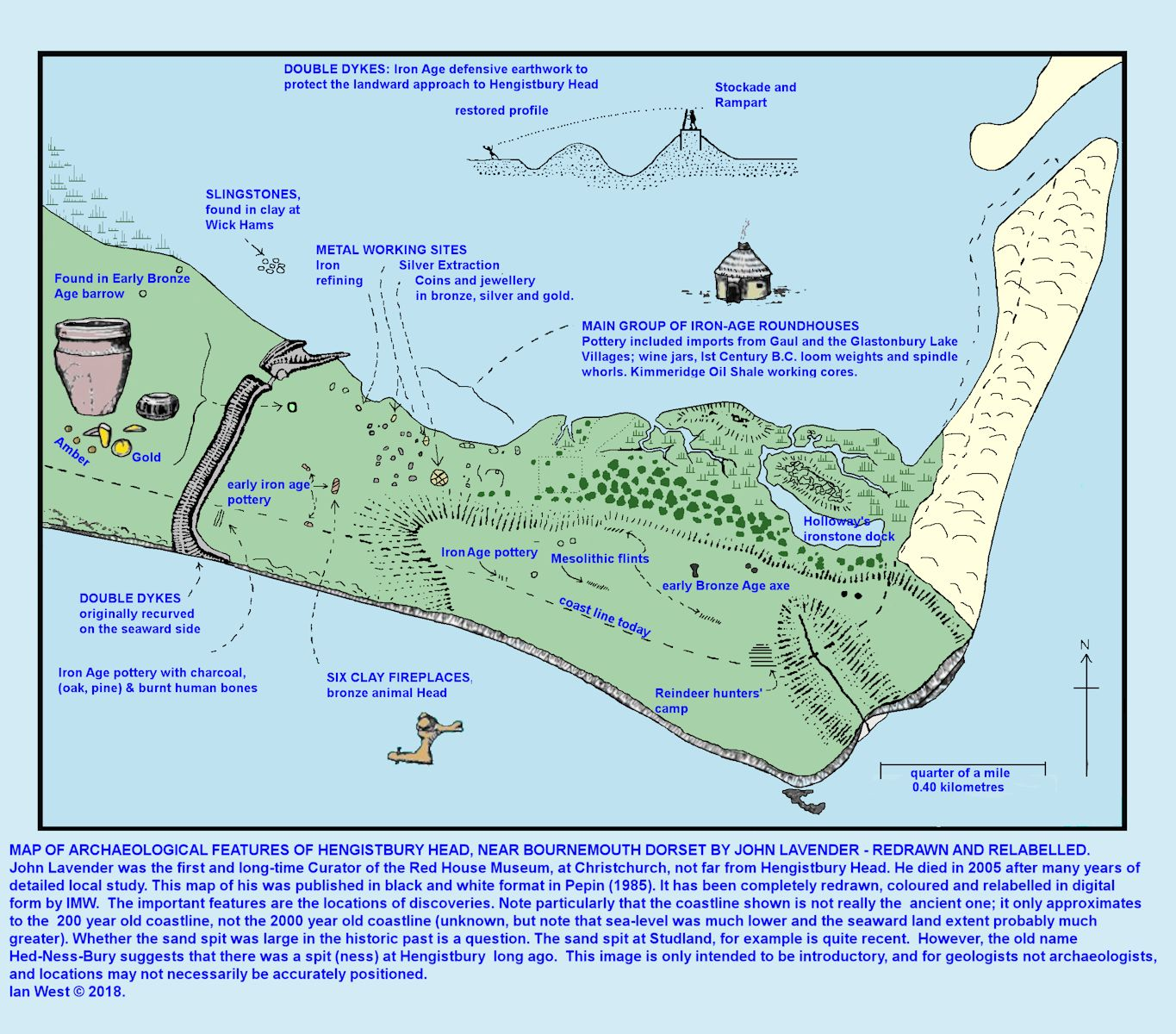 Archaeological features of Hengistbury Head, as shown on a map by Lavender, the late Christchurch, Red House Museum Curator, also with an old coastline, although this outline for the distant past is not accurately known