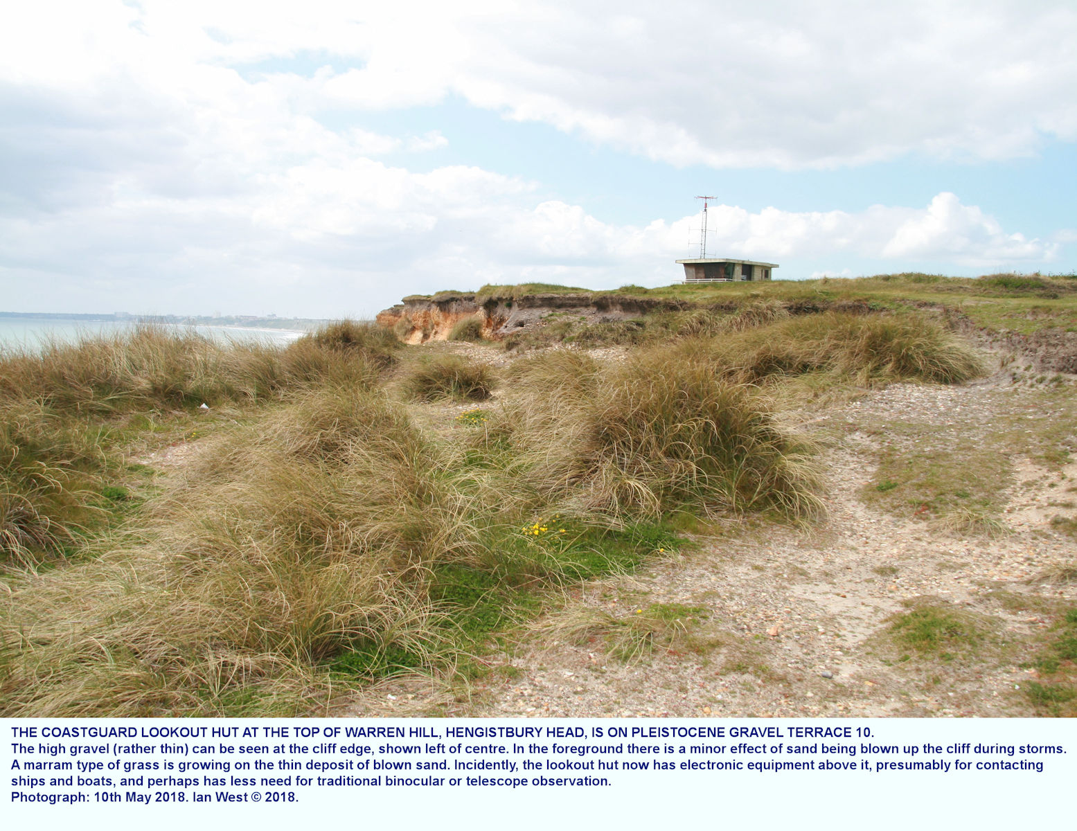 The coastguard lookout hut on the highest point of Warren Hill or Hengistbury Head, 10th May 2018