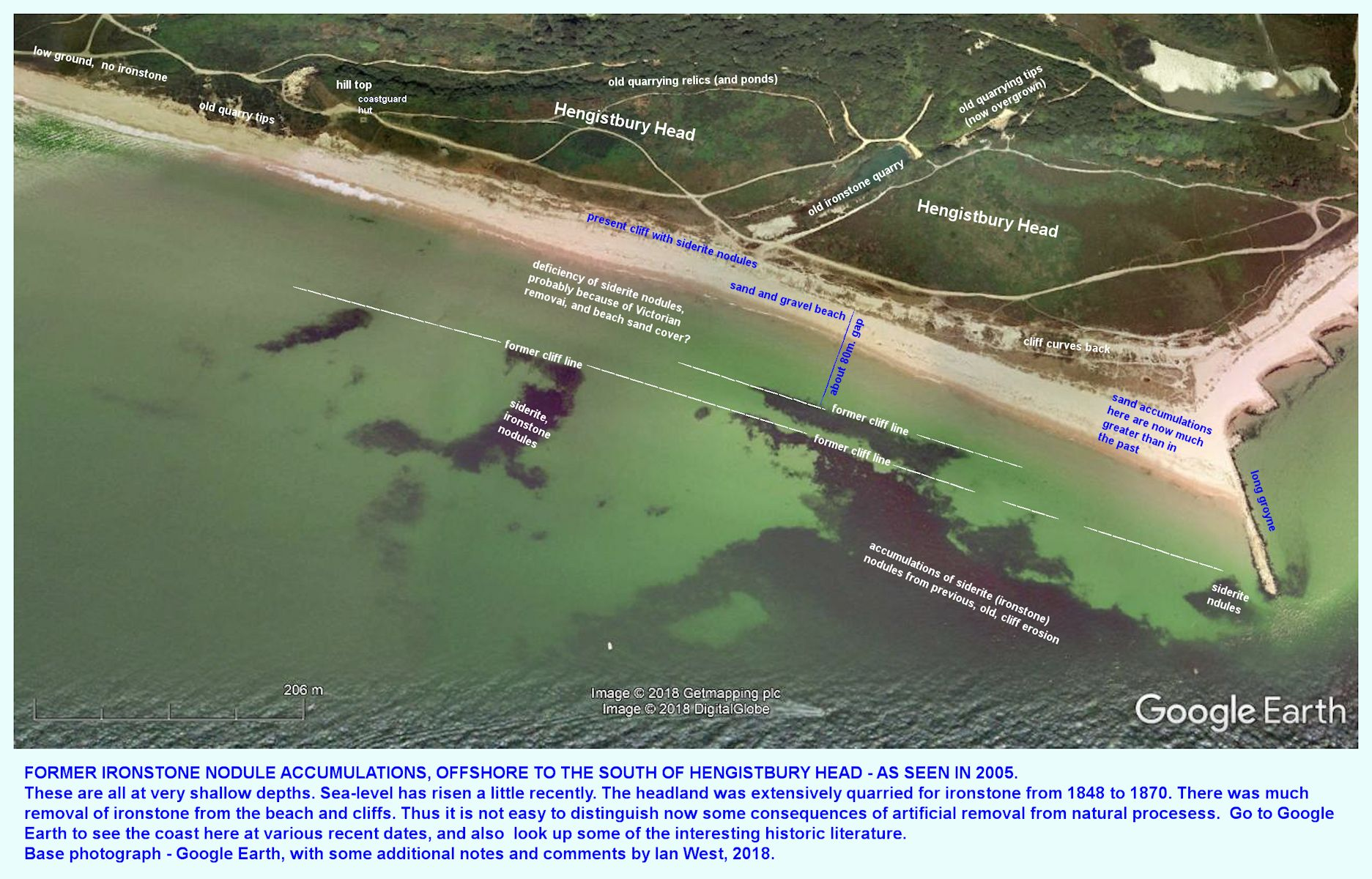 Aerial view, GE, of reworked ironstone nodules on the shallow sea-floor, south of Hengistbury Head, 2005, with descriptive notes added by IMW in 2018