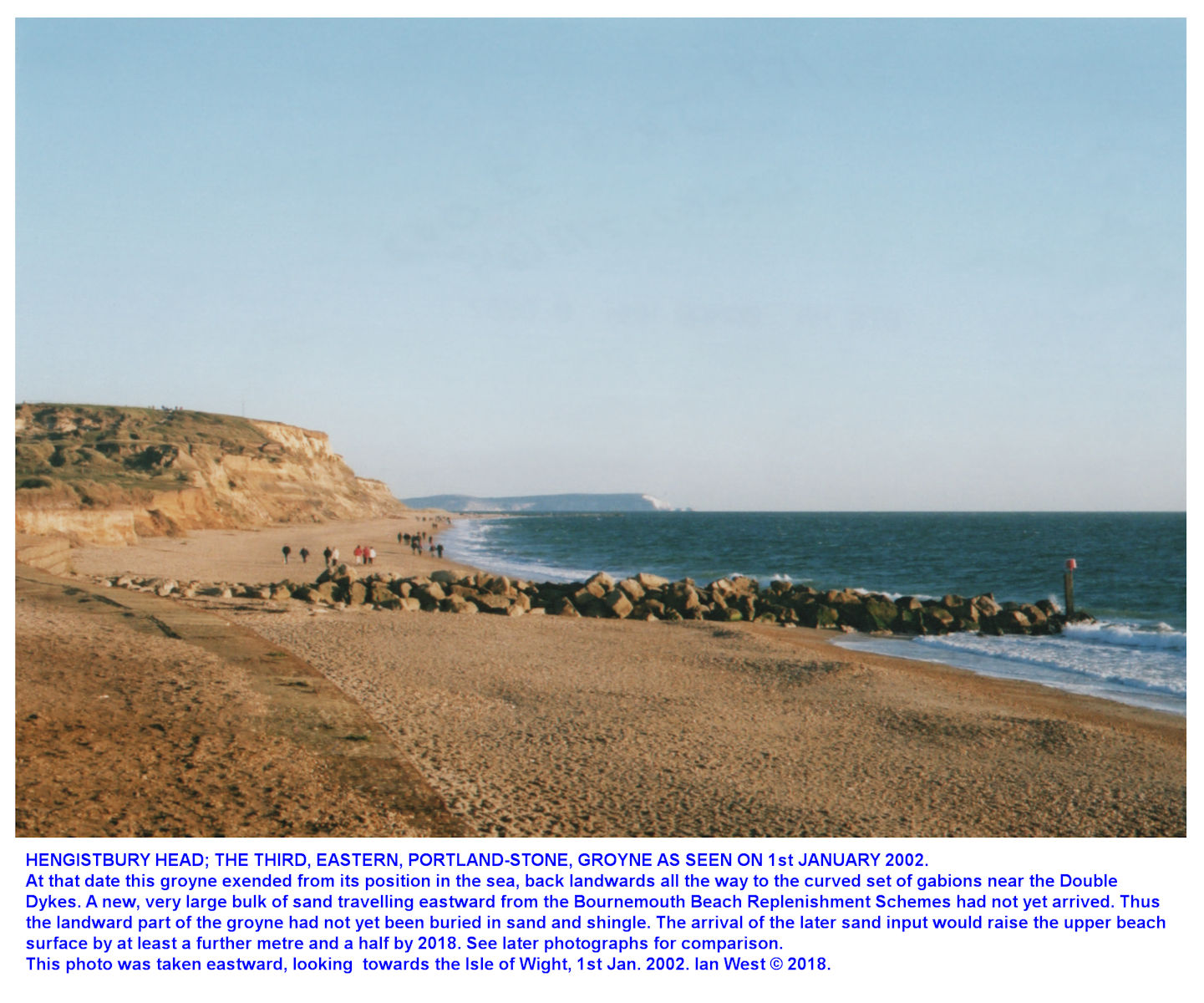 Hengistbury Head, Bournemouth, Dorset, seen from near the southern end of the Double Dykes, 1st January 2002, at this date the Portland Stone groyne extended from within the sea, back to the cliff