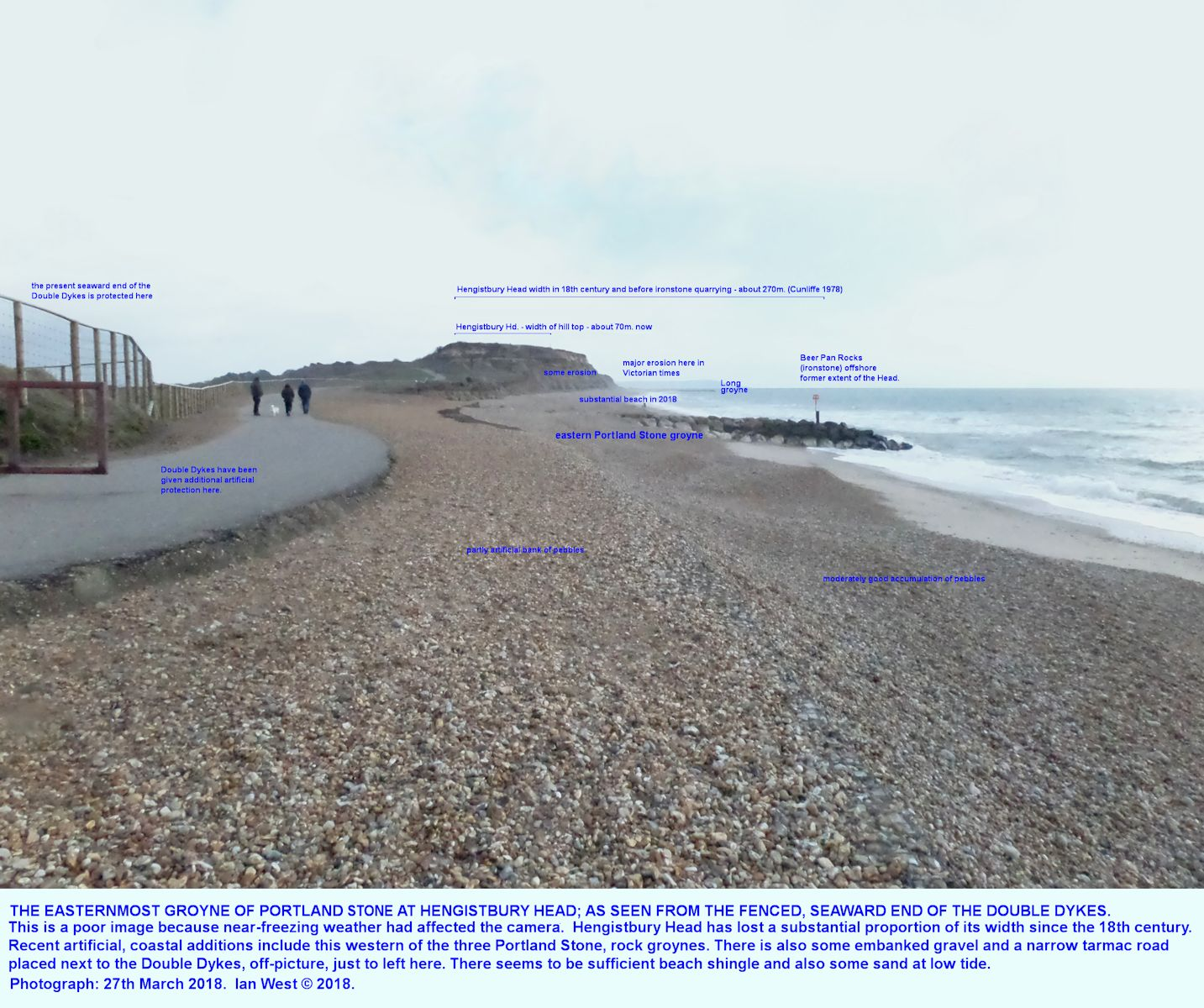 Hengistbury Head, in the distance, with some indication of former erosion, and in particular the easternmost of three groynes of Portland Stone blocks, view is approximately eastward
