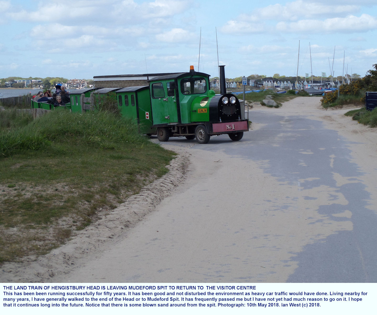 The road train at Hengistbury Head runs between the  Visitor Centre and the landward, Hengistbury end of Mudeford Spit, and has done so for about fifty years