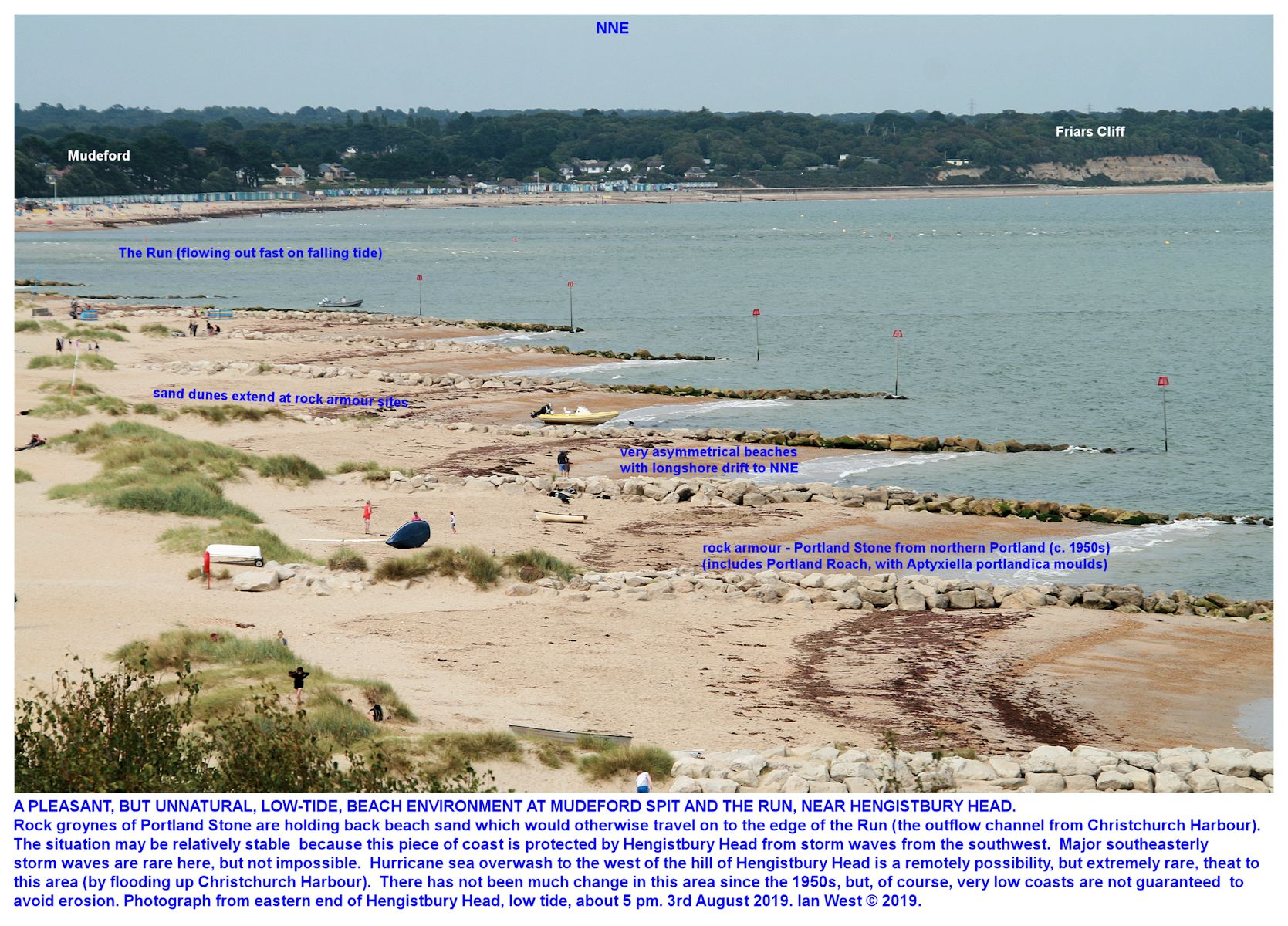 Another view of the northern part of Mudeford Spit, with beach sand held by Portland Stone groynes, photograph - low tide, pm, 3rd August 2019