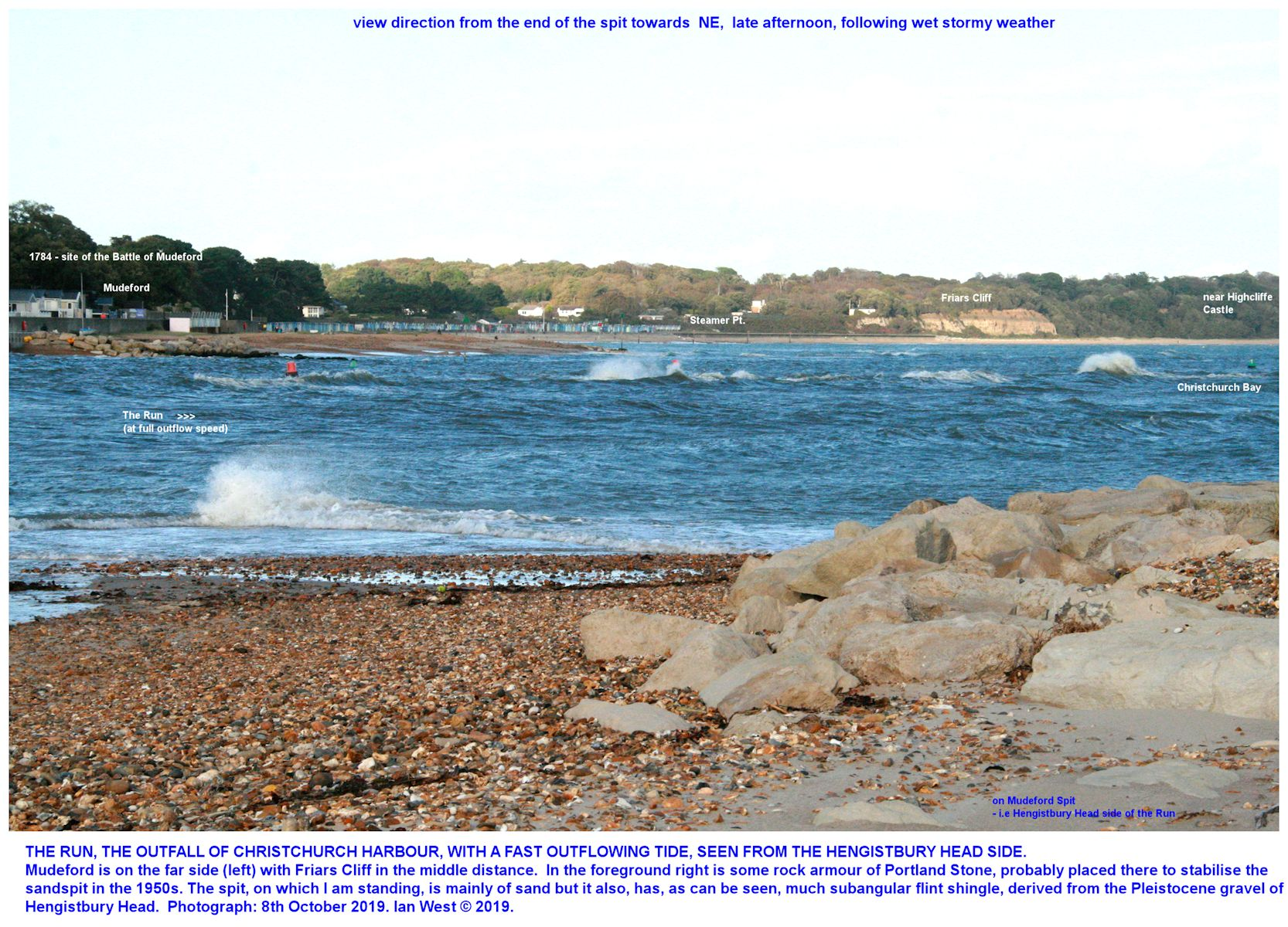 A view of the Run and adjacent coast at Mudeford as seen with an outflowing tide, from the northern, Mudeford, end of Mudeford Spit (i.e the Hengistbury Head sand spit) on the 8th October, 2019