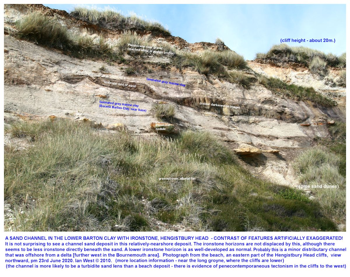 A lenticular sand body in the Lower Barton Clay in the eastern part of Hengistbury Head, with the sand body artificially darkened for reasons of emphasis and clarity