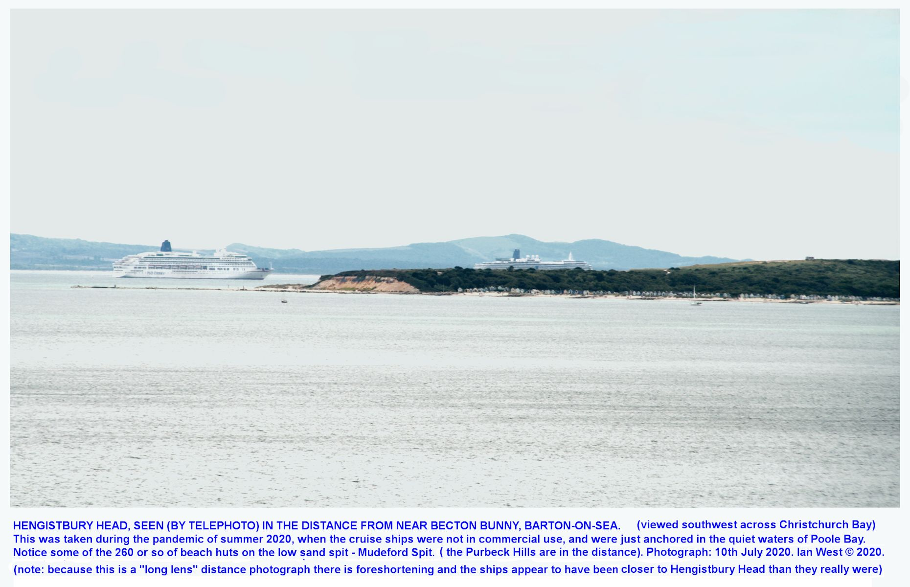 Cruise ships, not in use because of the Coronavirus pandemic in July 2020, and temporarily anchored in Poole Bay, not far from Hengistbury Head