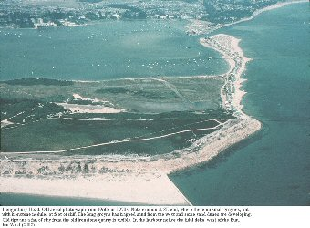 Old aerial photo of Hengistbury Head, showing Mudeford Spit