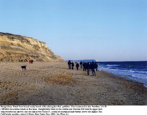 Hengistbury Head,view along beach towards Isle of Wight, 2002
