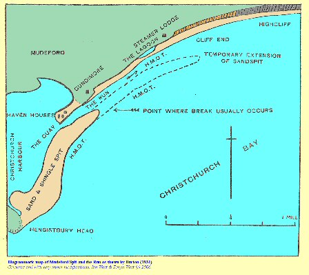 The Burton diagrammatic map of Mudeford Spit and the Run, showing the location of the lagoon in 1931, near Hengistbury Head, Bournemouth, Dorset