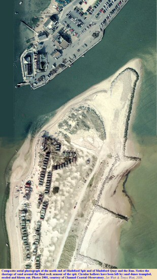 Composite aerial photograph of the end of Mudeford Spit, and of Mudeford Quay and the Run, Hengistbury Head, Bournemouth, Dorset, courtesy of Channel Coastal Observatory, 2001