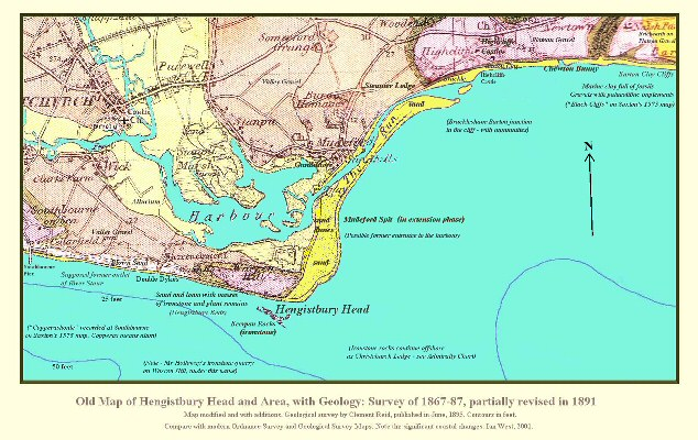 Old geological map of Hengistbury Head and Mudeford Spit, near Bournemouth, Dorset, revised to 1891