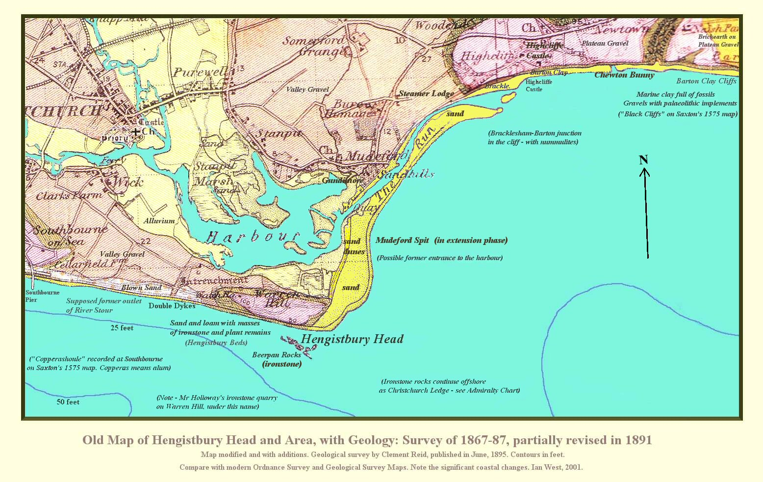 Old Geological Map Of Hengistbury Head And Mudeford Spit Near Bournemouth Dorset Revised