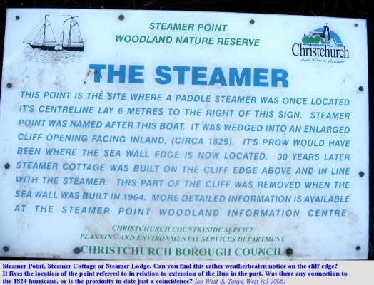 Steamer Point, near Mudeford,  Dorset - information regarding the steamer