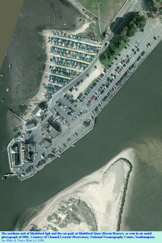 An aerial view of the Run, the outflow channel of Christchurch Harbour, and of Mudeford Quay, Dorset