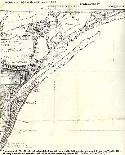 A old map of Mudeford Spit and the Run, Hengistbury Head, Bournemouth, Dorset, from the 1930s with some additional notes from 1957