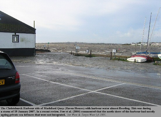 The north side of Mudeford Quay or Haven Houses, with Christchurch Harbour near flood level