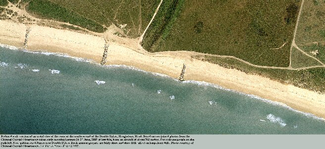 The low gravel terrace coast near the southern end of the Double Dykes ,Hengistbury Head, Bournemouth, Dorset - notice the gabion sea defences, the rock armour groynes and the offshore bar, aerial photo 2005 courtesy of the Channel Coastal Observatory