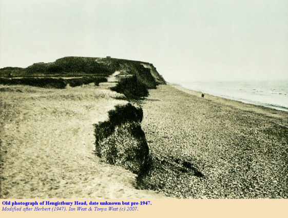 An old photograph of Hengistbury Head, Bournemouth, Dorset, pre-1947 but date unknown