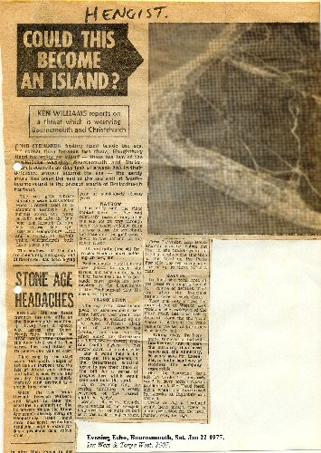Newspaper report -fears of Hengistbury Head, Bournemouth, becoming an island