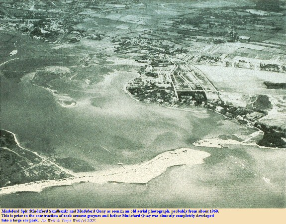 Mudeford Spit and Mudeford Quay as seen in an arial photograph from about 1960