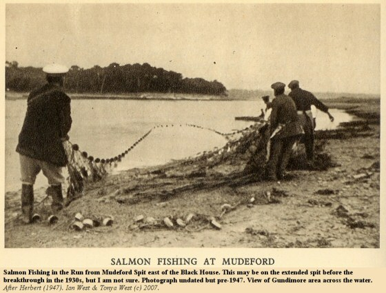 Salmon Fishing in the Run from Mudeford Spit, perhaps at a time when the spit was in extended state