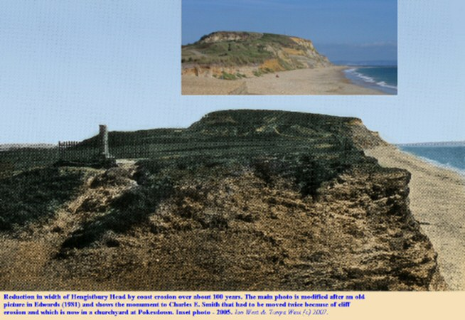 Hengistbury Head, Bournemouth, Dorset shown from the west in an old and modern photograph illustrating the extent of coast erosion