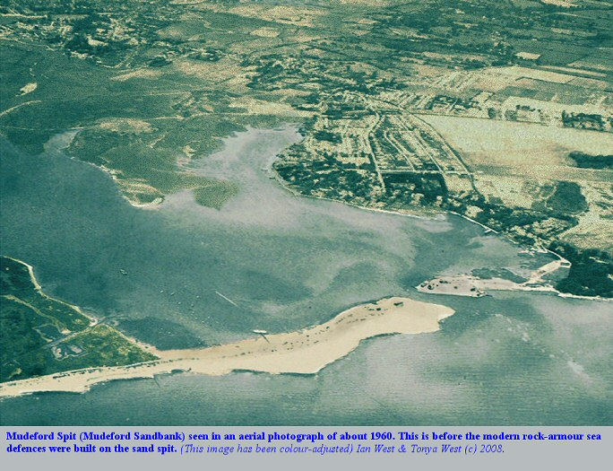 An old aerial photograph of Mudeford Spit, Hengistbury Head, Bournemouth, Dorset, probably from about 1960