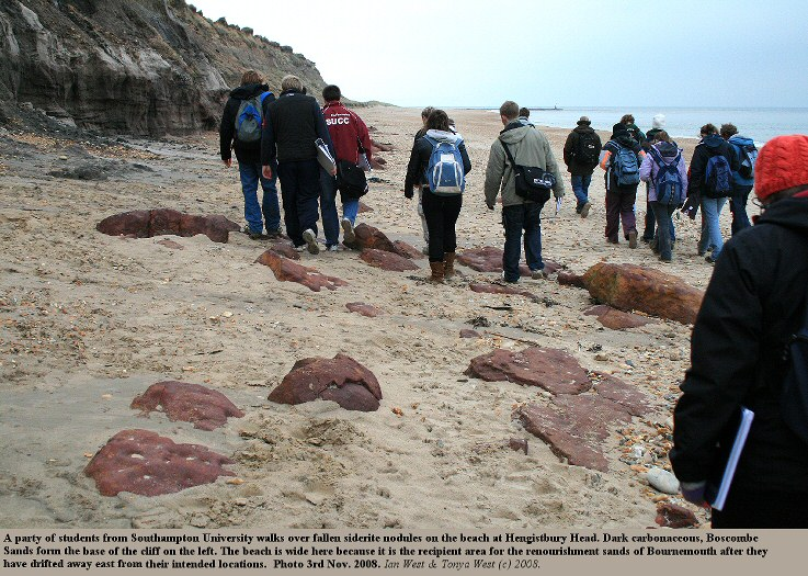 Geology and Oceanography Students from Southampton University walk over ironstone nodules at Hengistbury Head, Bournemouth, Dorset