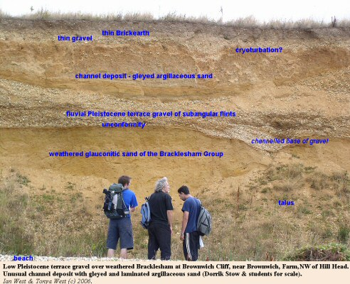 Unusual channel of gleyed argillaceous sand in the Pleistocene gravel of Brownwich Cliff, northwest of Hill Head, Hampshire, Solent coast
