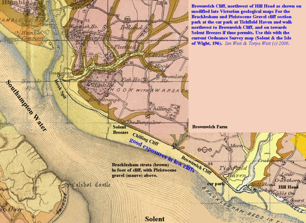Modified composite of old geology maps showing Brownwich Cliff, northeast of Hill Head, Hampshire, Solent coast