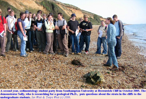 Student party at Brownwich Cliff, northwest of Hill Head, Hampshire, Solent coast
