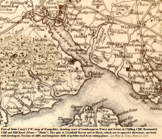 Part of Carey's 1887 map of Hampshire and Southampton Water showing Chilling Cliff and Brownwich Cliff, northwest of Hill Head, Hampshire, Solent coast