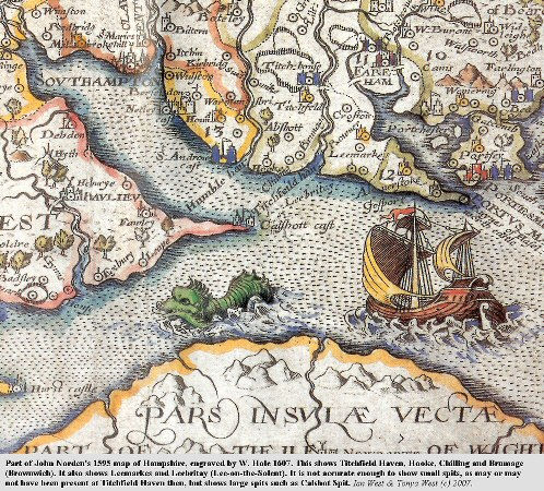 Part of Norden's 1595 map showing Titchfield Haven, Chilling and Brownwich Cliffs and other parts of Southampton Water and the Solent