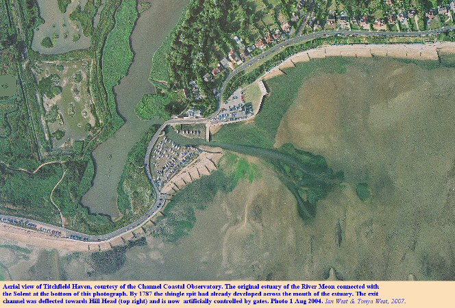 Aerial photograph of Titchfield Haven, Hampshire, courtesy of the Channel Coastal Observatory, non-rectified, August 2004