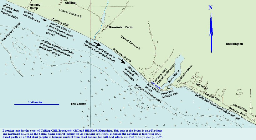 Location map for the coastal exposures of Chilling Cliff and Brownwich Cliff, northwest of Hill Head, Hampshire, Solent coast