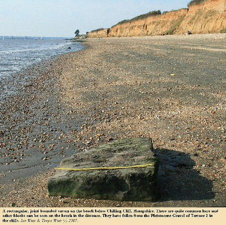 A joint-bounded, rectangular sarsen stone on the beach below Chilling Cliff, northwest of Hill Head, Hampshire, Solent coast, 2007
