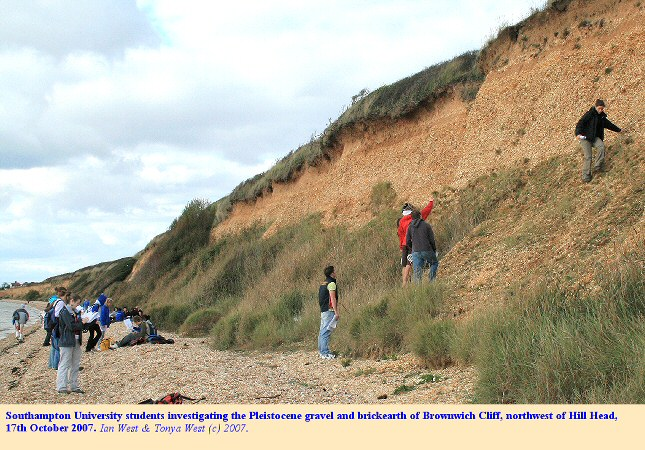 Students investigate the Pleistocene gravels at Brownwich Cliff, northwest of Hill Head, Hampshire, Solent coast