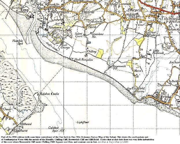 Part of a 1930 map of Chilling Cliff, Brownwich Cliff and Hill Head at the southeastern end of Southampton Water, Hampshire