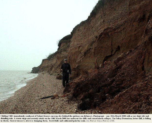 Evidence of erosion at Chilling Cliff, near Solent Breezes Caravan Park, Solent coast, Hampshire