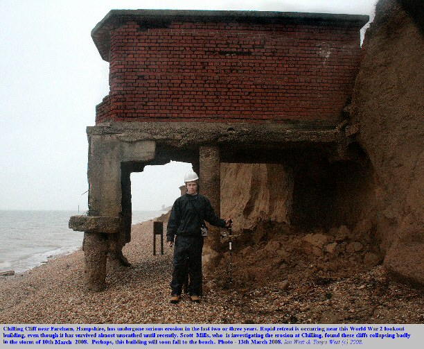 Erosion at lookout building, Chilling Cliff, near Fareham, Hampshire, Solent coast, with Scott Mills, 13th March 2008