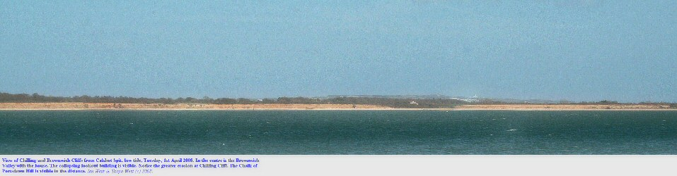 Chilling and Brownwich Cliffs, Solent coast, near Fareham, Hampshire, seen across Southampton Water from Calshot Spit