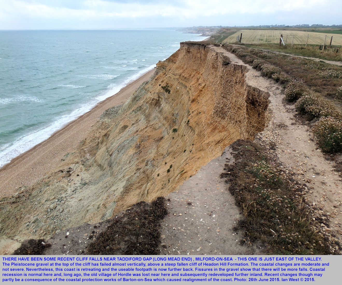 Recent erosion of the cliff just to the east of Taddiford Gap, seen from the cliff top, Hordle Cliff, Hampshire, 26th June 2015