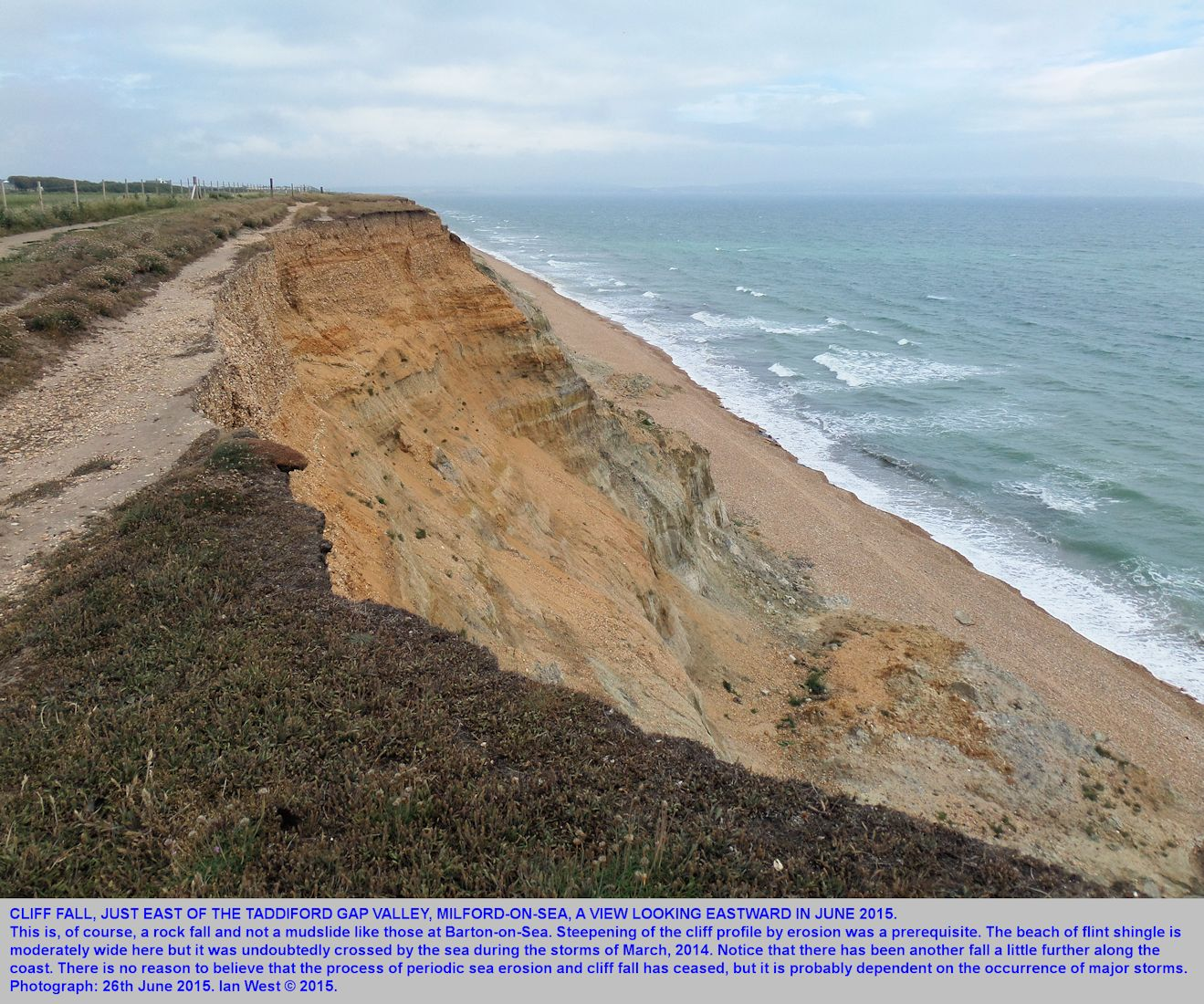 A view eastward of the site of recent erosion of the cliff east of Taddiford Gap, seen from the cliff top, Hordle Cliff, Hampshire, 26th June 2015
