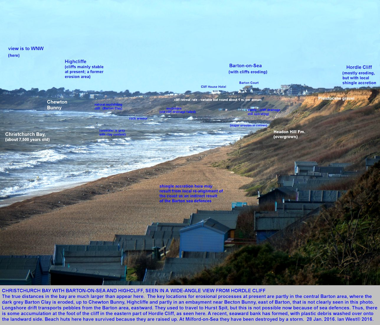 A wide-angle view, westward, of Christchurch Bay, including Barton-on-Sea, from the eastern part of Hordle Cliff, Milford-on-Sea; the image has visual compression and distances are greater than they appear