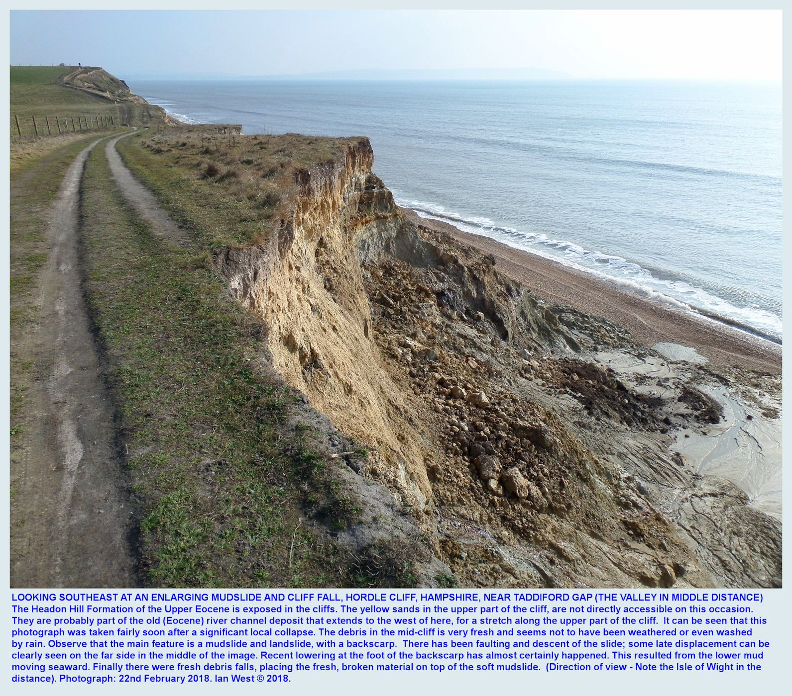 Looking southeast from the cliff top, at a landslide and mudslide, developing just west of Taddiford Gap, Hordle Cliff, Hampshire, and still in progress of extension, 22nd February, 2018