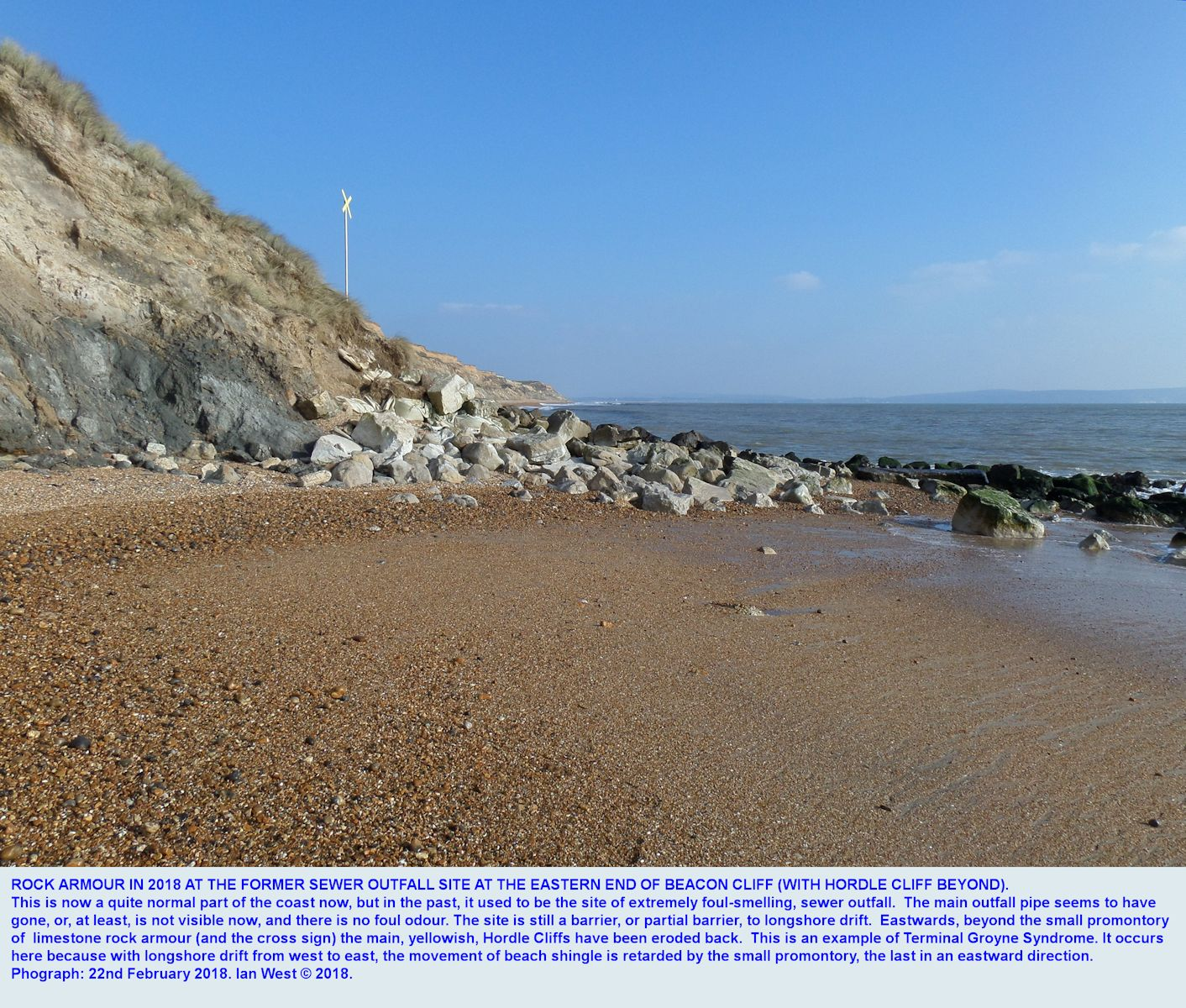 Terminal Groyne Syndrome seen at beach level, a small promontory of rock armour at the Sewer outfall area retards shingle movement,  at the eastern end of Beacon Cliff, between Barton-on-Sea and Hordle Cliff, Hampshire, southern England, 22nd February 2018