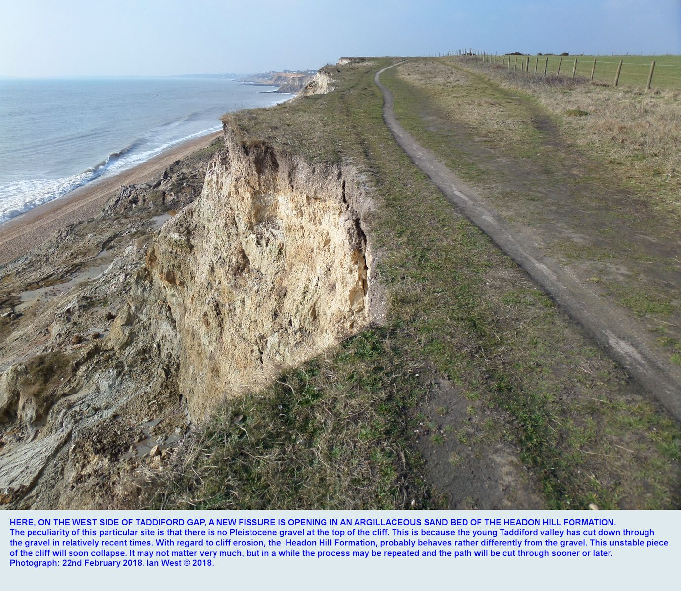 At the top of a landslide and mudslide, a new fissure in the Headon Hill Formation at the top of the cliff, just west of Taddiford Gap, Hordle Cliff, Hampshire, at a place where there is no Pleistocene gravel, 22nd February, 2018