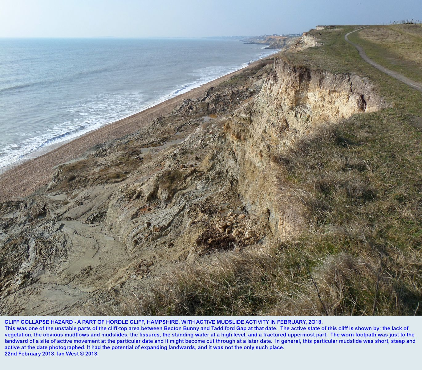 Upper part of a landslide and mudslide developing just west of Taddiford Gap, Hordle Cliff, Hampshire, and likely to extend further landward and perhaps cut the cliff-top footpath, as seen on 22nd February, 2018