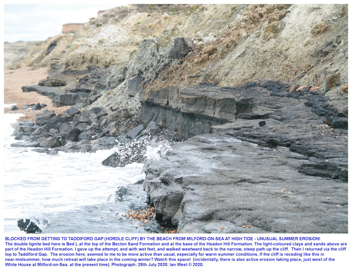 Active erosion at high tide at a location immediately west of Taddiford Gap that was impassable at the time