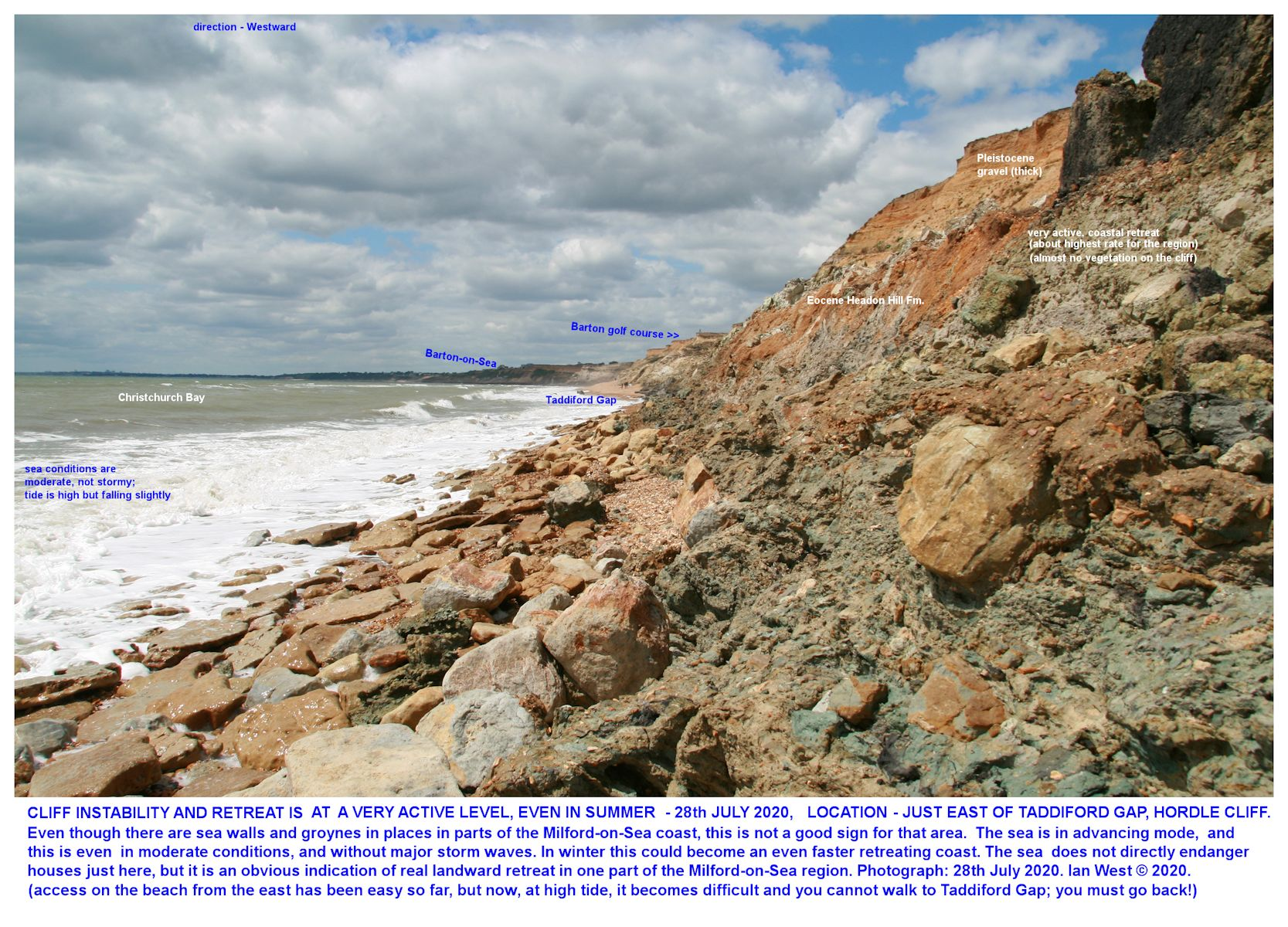 Very active erosion, to the eastsoutheast of Taddiford Gap, Hordle Cliff, as seen in July 2020